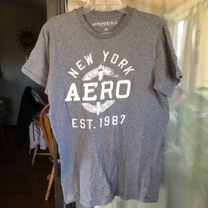 Men's Aeropostale Gray & White Logo Tee